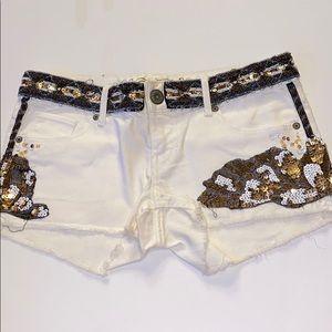 Pants - Beaded Detailed Denim Shorts